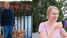 Image shows a photo of Kathie Schneider to the left, posing for a photo with her guide dog. Kathie, smiling, is wearing a dark blue pullover with blue jeans. She is standing on a pedestrian bridge with a river, trees and a row of brown buildings in the background. In the photo to the right, Annika Konrad, wearing a light pink shirt is smiling, sitting and holding a purple and black cup in her right hand. Trees align the background in what appears to be a bright summer day.
