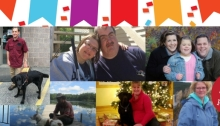 """A collage features nine of the Outlook from Here blog contributors, including Annika Konrad, Steve Johnson, Ericka Short, Chad Nelson, Tammie Hefty, Katherine Corbett, Katherine Schneider, Dan Sullivan, Janell Groskreutz, and Theresa Sweeney Smith. At the top of the collage is a brightly colored banner in colors of yellow, orange, blue, purple and red, along with coordinator confetti. In the bottom right corner is a red circle and inside reads """"100 Posts!"""""""